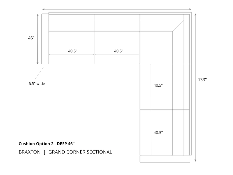 Braxton Grand Corner Sectional-46 inch Depth-Cushion Option 2