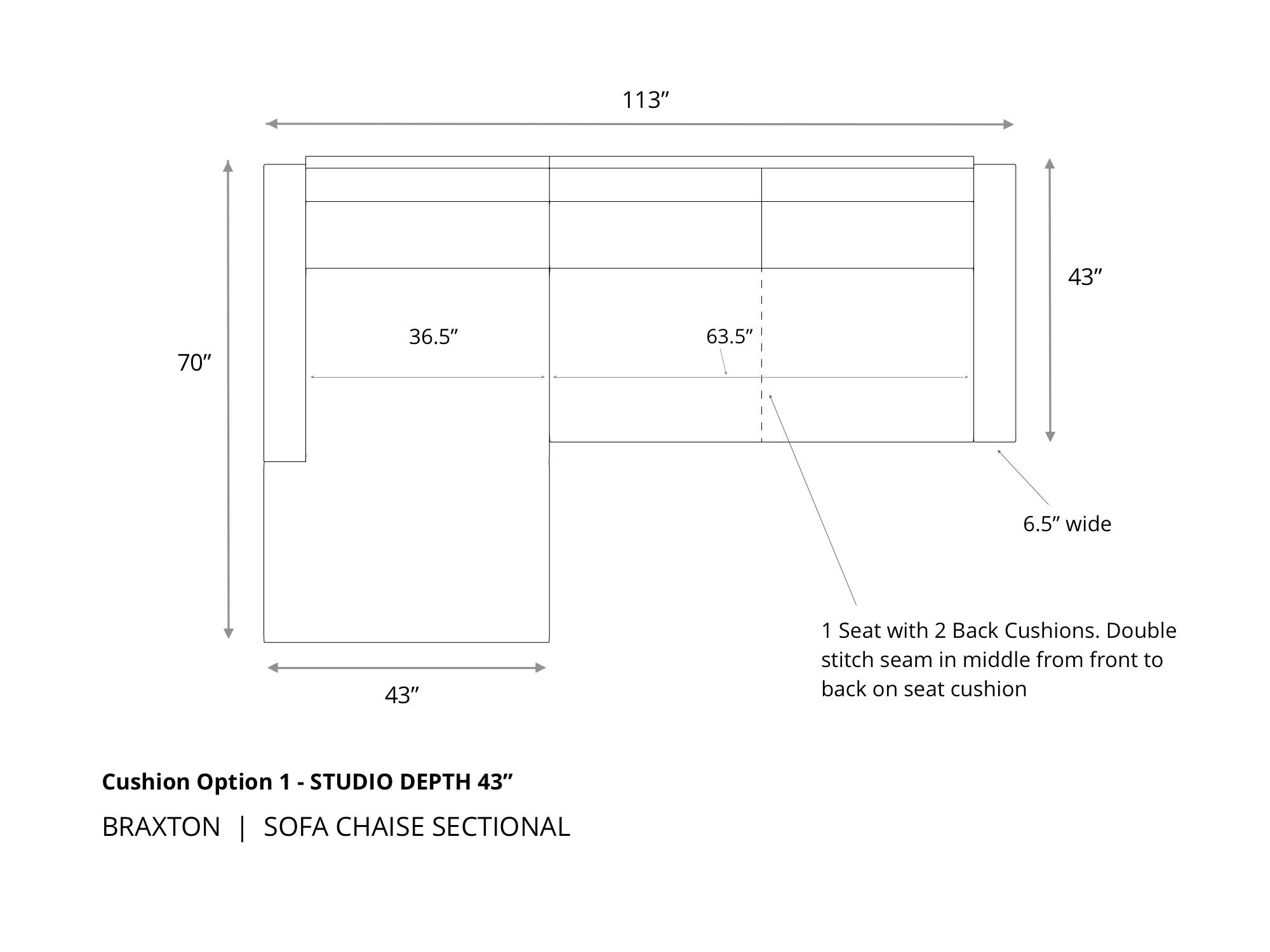 lg dimsgix Braxton Sofa Chaise Sectional 43 1
